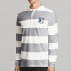 The Modern P.Q Long  Sleeve Polo Shirt For Men-White & Gray Stripe-SP277