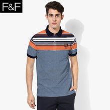 F&F Polo Shirt For Men Cut Label-Dark Blue With Orange Striped-BE2514