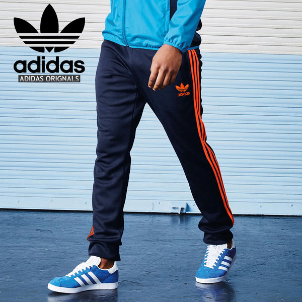 Adidas Cotton Trouser For Men-Dark Navy With Orange Stripes-BE2237
