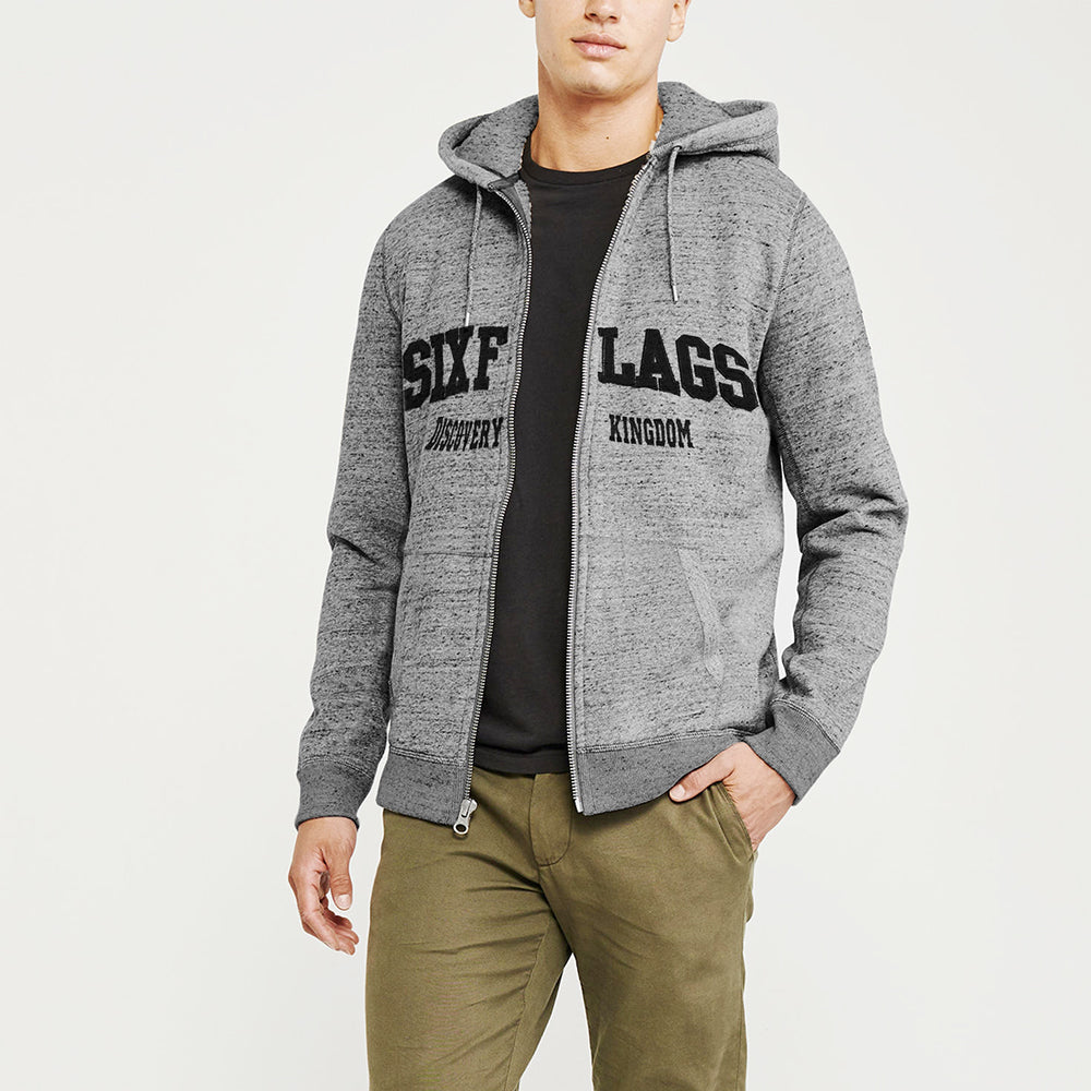 New York Popular Fleece Zipper Hoodie For Men-Grey Melange-NA9950
