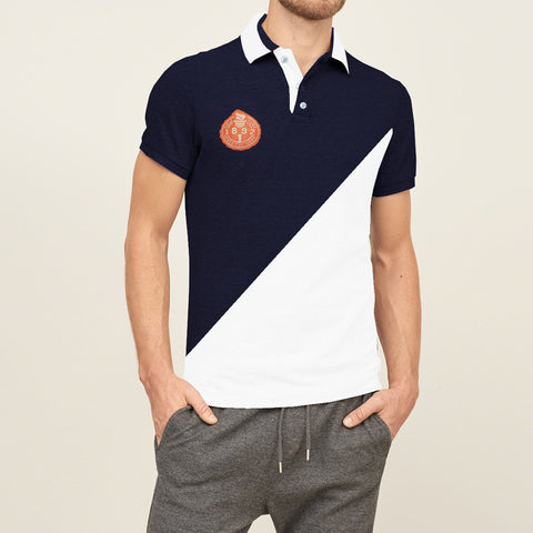 Mens Louis Vicaci Milano Muscel Fit Light Navy-White  Rughby Polo Shirts-RP10