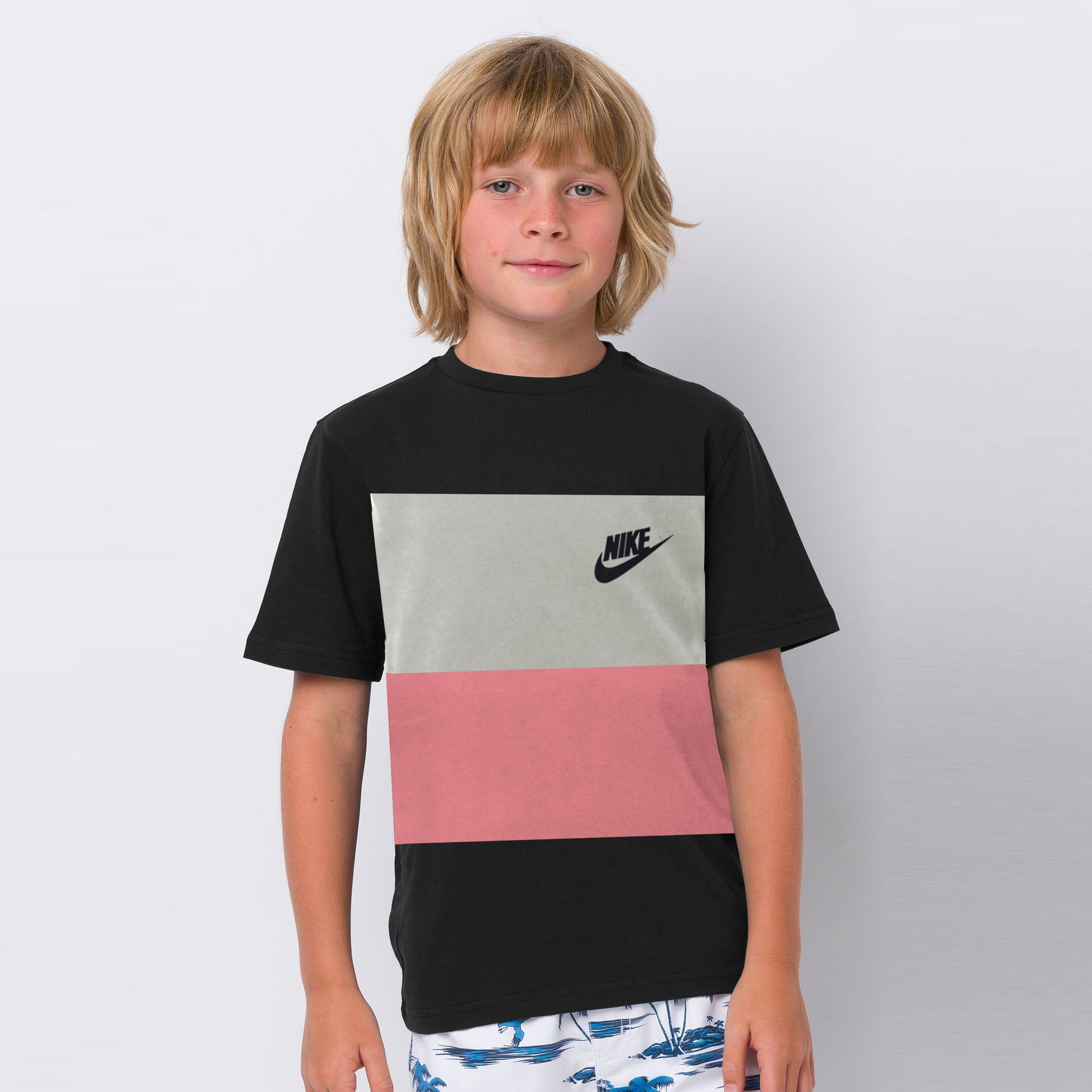 NK Crew Neck Single Jersey Short Sleeve Tee Shirt For Boys-Rosy Black with Grey & Light Pink Panel-SP1970