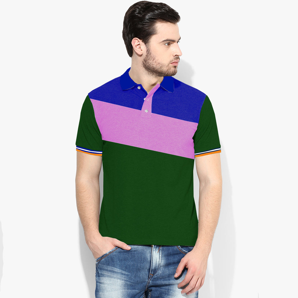 Mens Louis Vicaci Milano Muscel Fit Dark Green-Baby Pink & Royal Blue Rughby Polo Shirts-RP01