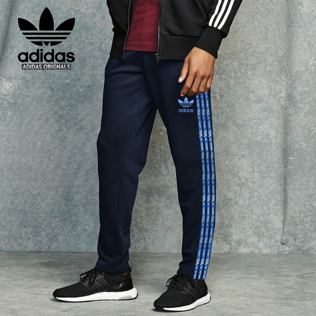 Adidas Cotton Trouser For Men-Navy With Blue Stripes-BE2235