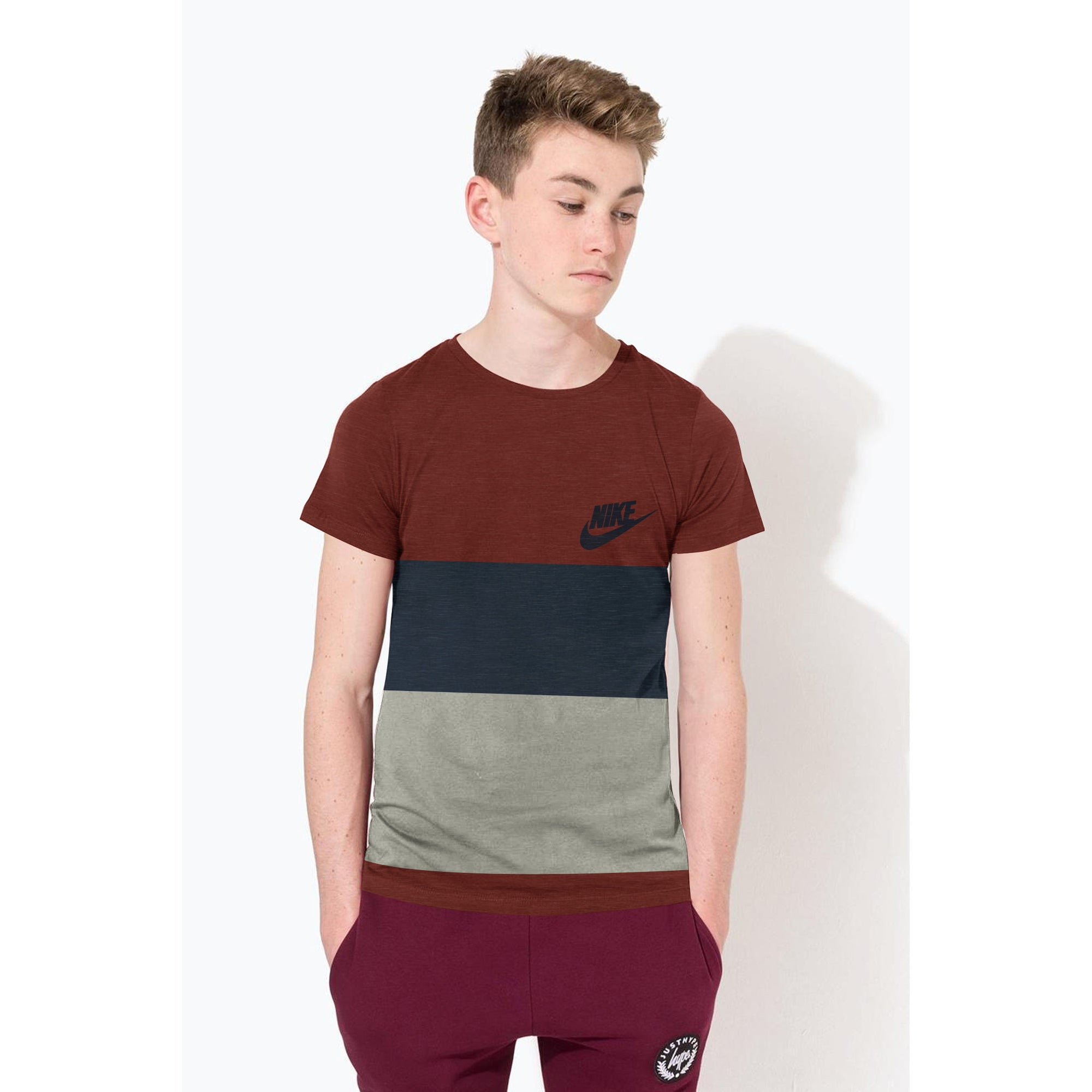 NK Crew Neck Single Jersey Short Sleeve Tee Shirt For Boys-Maroon Melange with Dark Navy & Grey Panels-SP1961