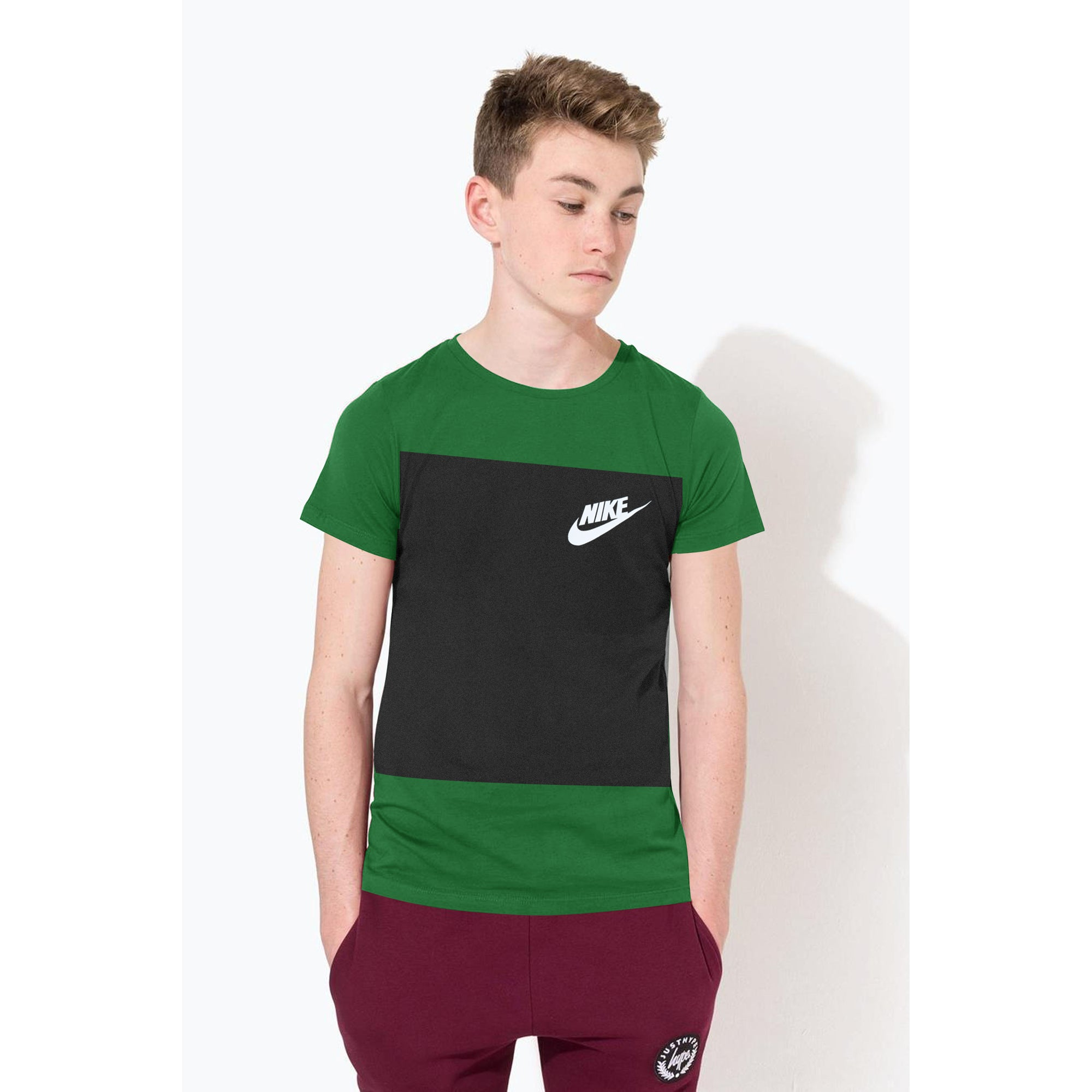 NK Crew Neck Single Jersey Short Sleeve Tee Shirt For Boys-Dark Green with Charcoal Melange Panel-SP1963