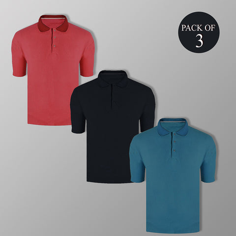 Pack Of 3 Men's Thermal Polo Shirt-BE824