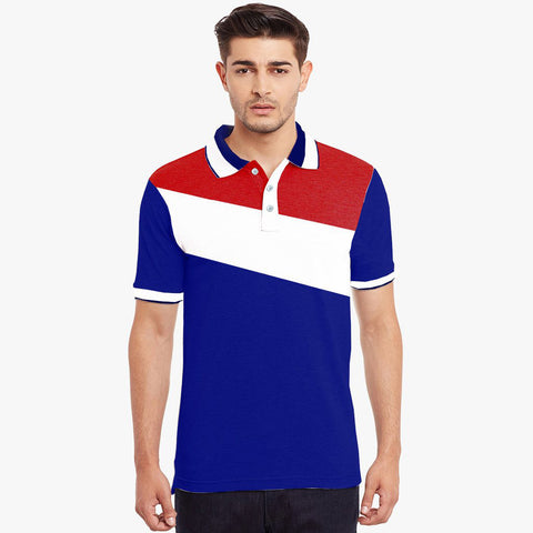 Mens Louis Vicaci Milano Muscel Fit Royal Blue-White & Red Rughby Polo Shirts-RP03