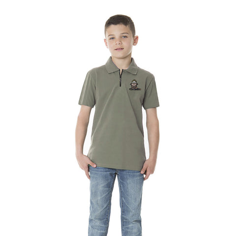 "Kids ""FIF"" Polo Shirt-Sea Green-BE208"