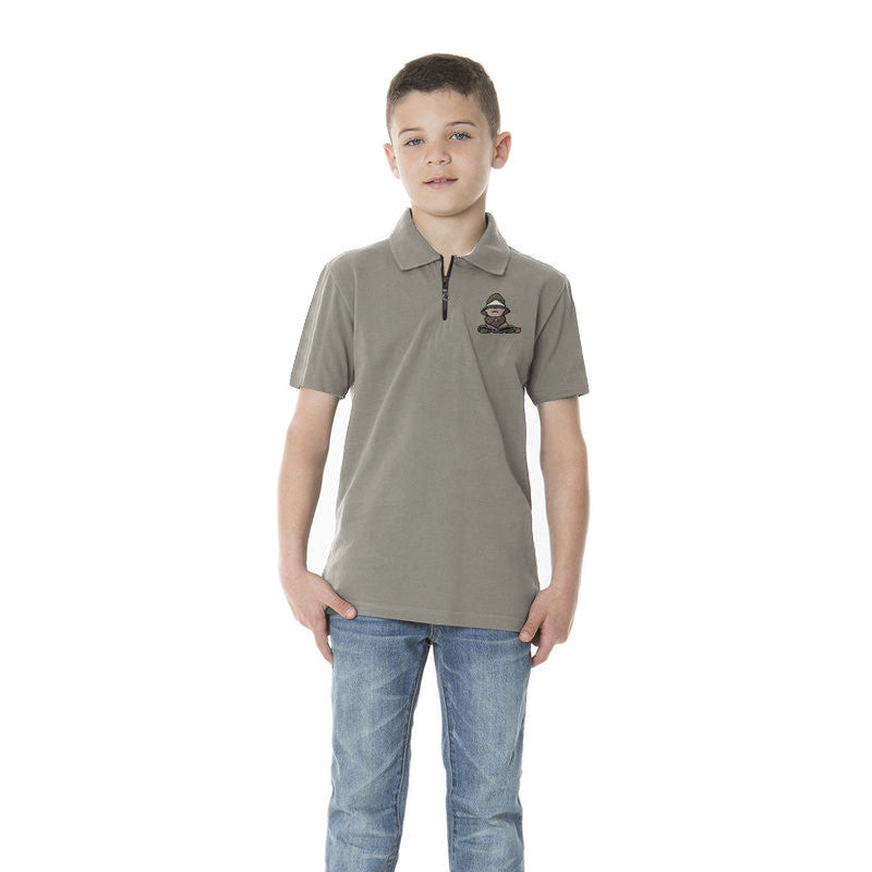 "Kids ""FIF"" Polo Shirt-Light Slate Blue-BE209"