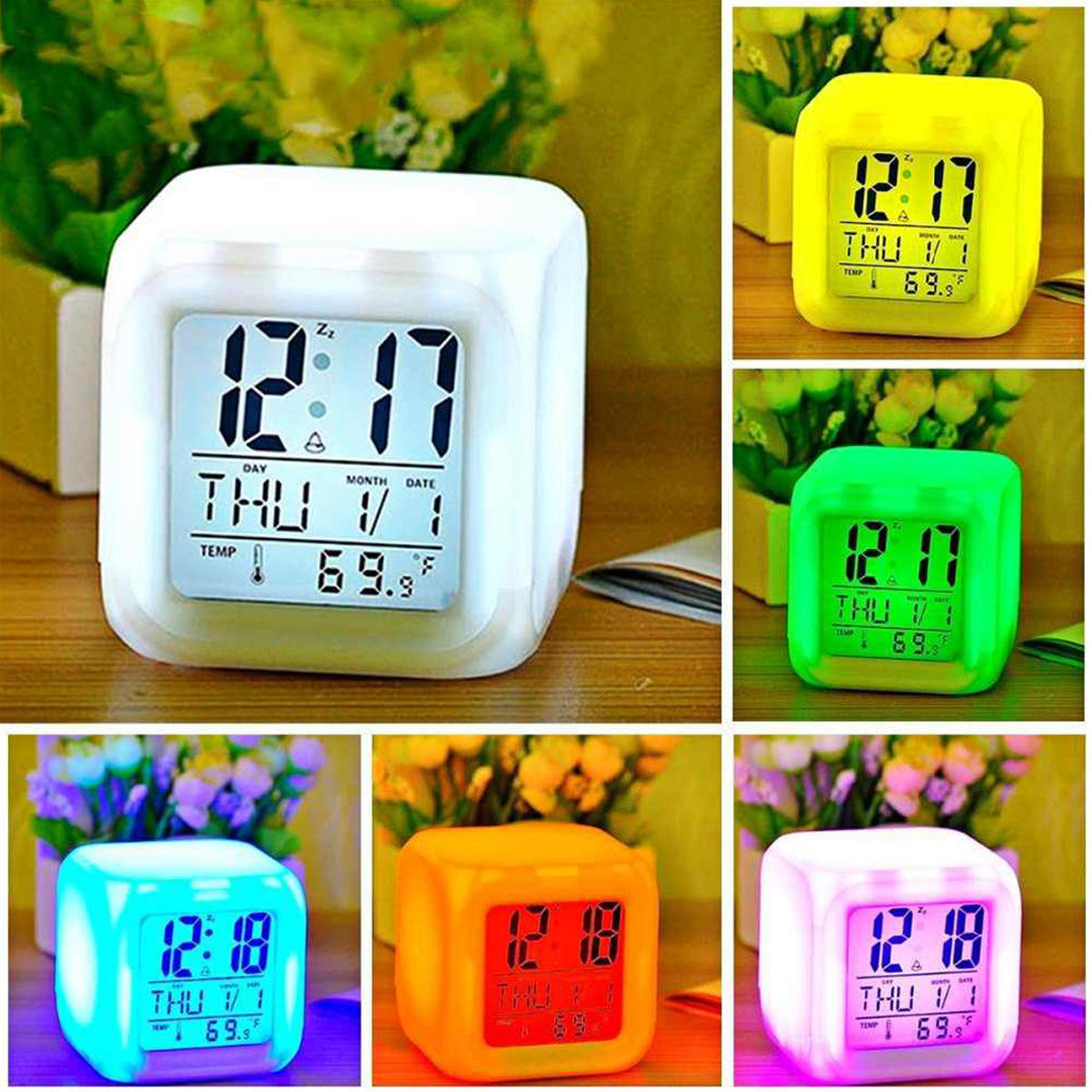 Glowing LED Color Change Digital Alarm Clock-JW016