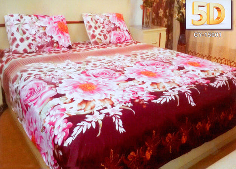 5D Oker's Island 100% Cotton Sutton Printed Double Bed Sheet & Pillow Set-(CY-15001)