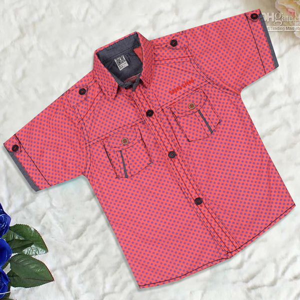 "Kid's ""TAO"" Short Sleeves Pink Purple Star Stylish Casual Shirt - KC215"