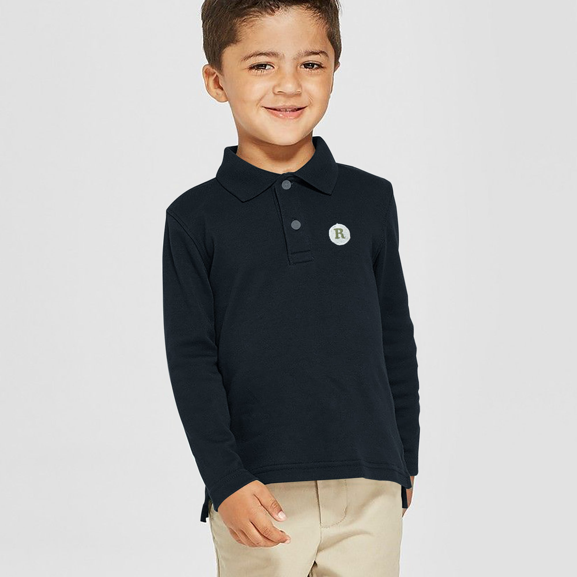 Next P.Q Long Sleeve Polo Shirt For Kids-Dark Navy-SP2837