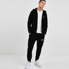 NK Slim Fit Black Melange & White Embroidery Fleece Zipper Track Suit For Men-Black Melange-SP1051