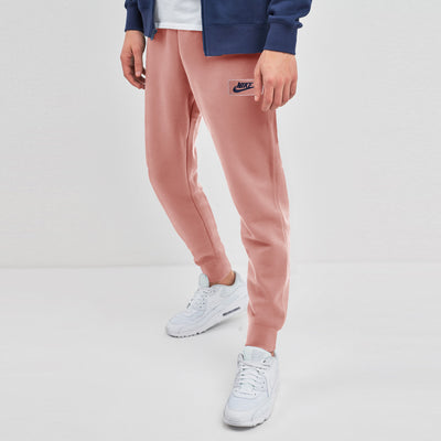 NK Terry Fleece Peach & Dark Navy Embroidery Slim Fit Jogger Trouser For Men-Peach-SP1009