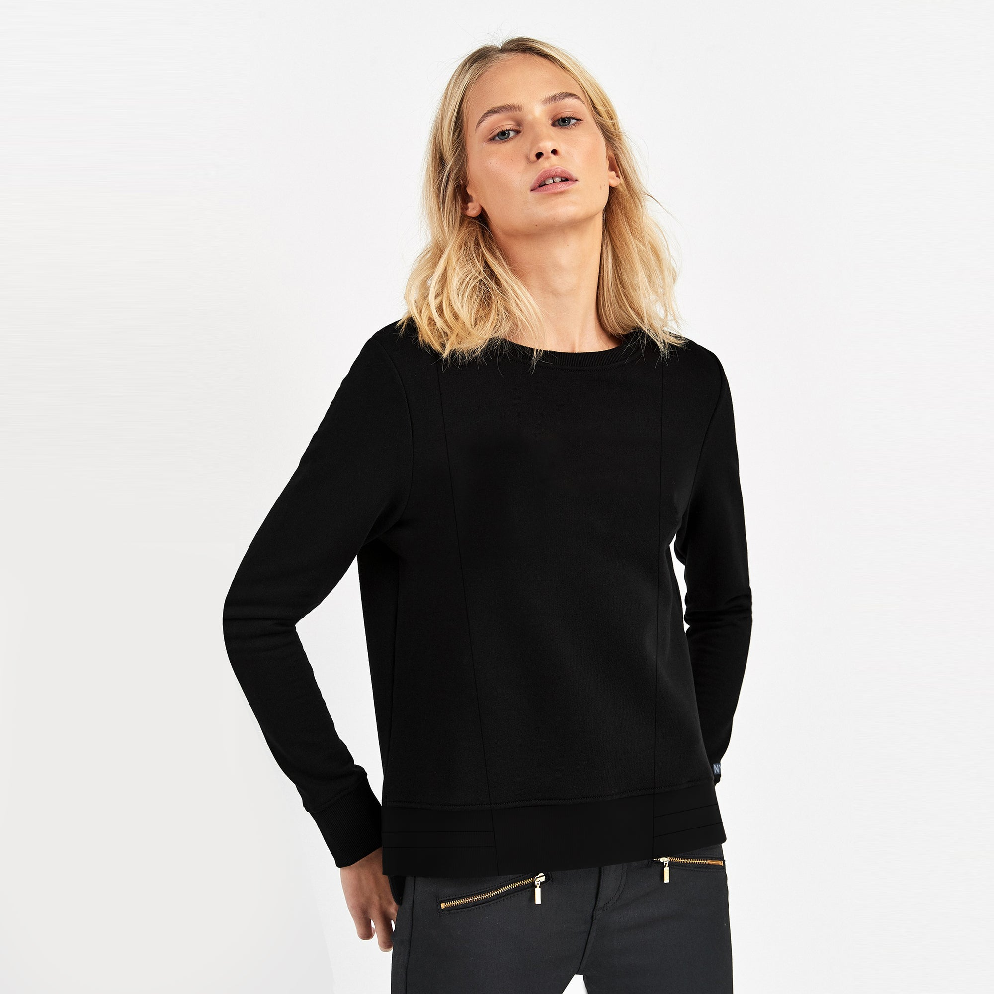 Nyc Polo Terry Fleece Crew Neck Sweatshirt For Ladies-Black-SP1150
