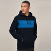 Next Fleece Pullover Hoodie For Men-Dark Navy With Blue Panel-SP1565