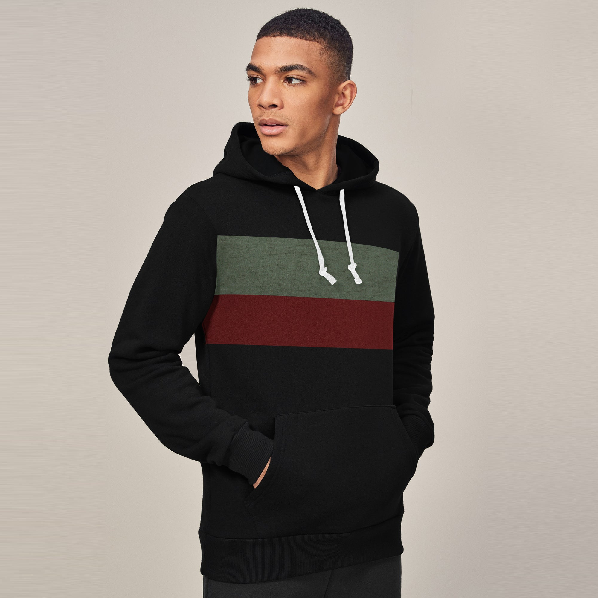 New Stylish Fleece Pullover Hoodie For Men-Black With Panels-SP1653
