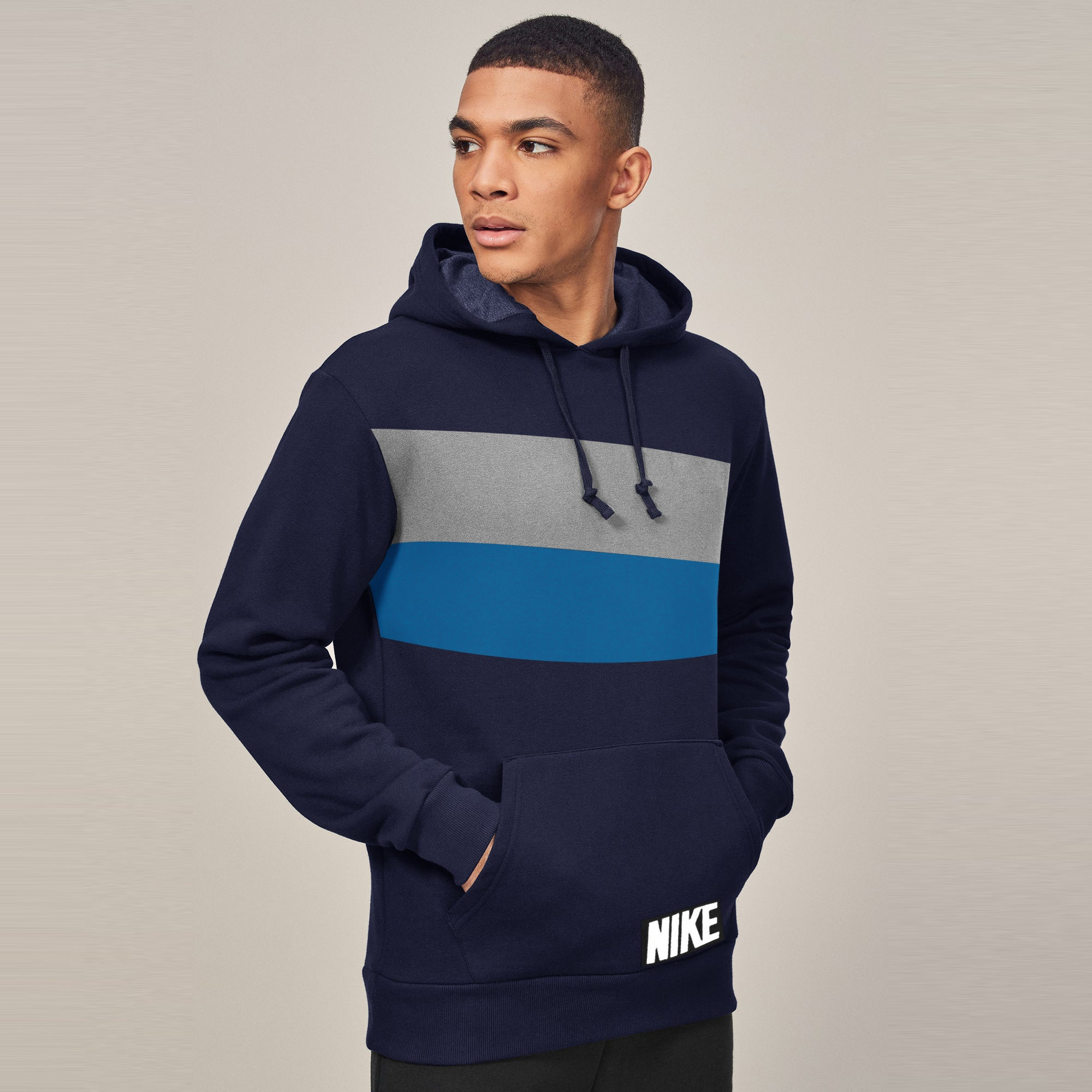 New Stylish Fleece Pullover Hoodie For Men-Navy With Panels-SP1609