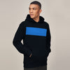 New Stylish Terry Fleece Pullover Hoodie For Men-Dark Navy With Sky Blue Panel-SP1663