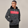 New Stylish Fleece Pullover Hoodie For Men-Black With All Over Print & Pink Panel-SP1696