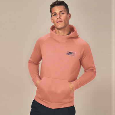 NK Fleece Raglan Sleeve Dark Peach & Dark Navy Embroidery Pullover Hoodie For Men-Dark Peach-SP996