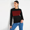 Next Terry Fleece Raglan Sleeve Sweatshirt For Women-Black & Red Panel-SP1027