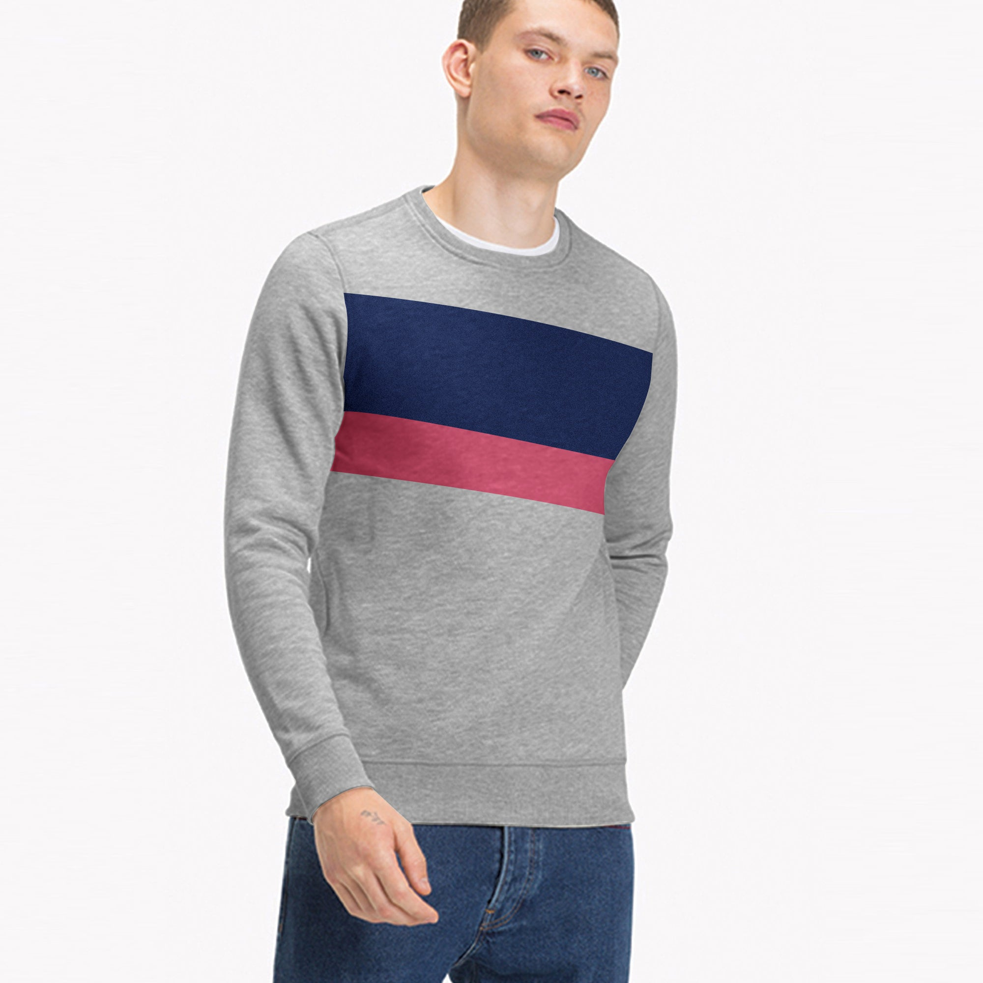 Next Terry Fleece Crew Neck Sweatshirt For Men-Grey Melange with Panels-SP1586