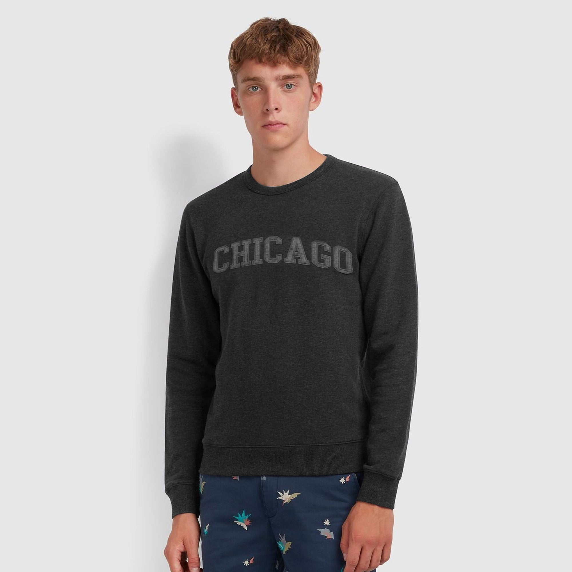 New York Popular Crew Neck Fleece Embroidered Sweatshirt For Men-Charcoal Melange-SP1127