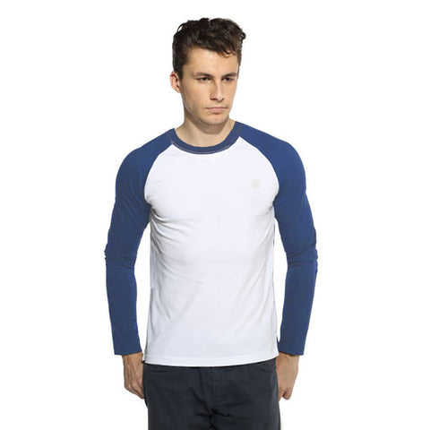 "Men's Cut Label ""Next"" Full Sleeve Crew Neck Jersy Shirt-White & Blue -BE85"
