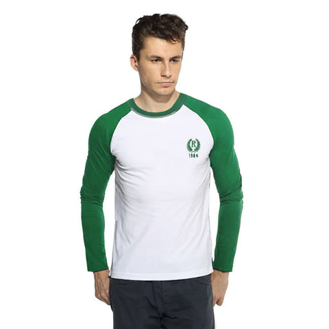 "Men's Cut Label ""Next"" Full Sleeve Crew Neck Jersy Shirt-White & Green -BE20"