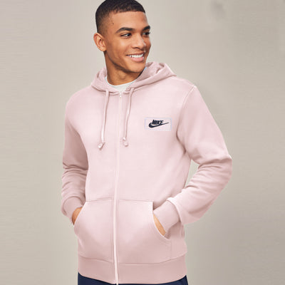 NK Fleece Light Peach & Dark Navy Embroidery Zipper Hoodie For Men-Light Peach-SP995