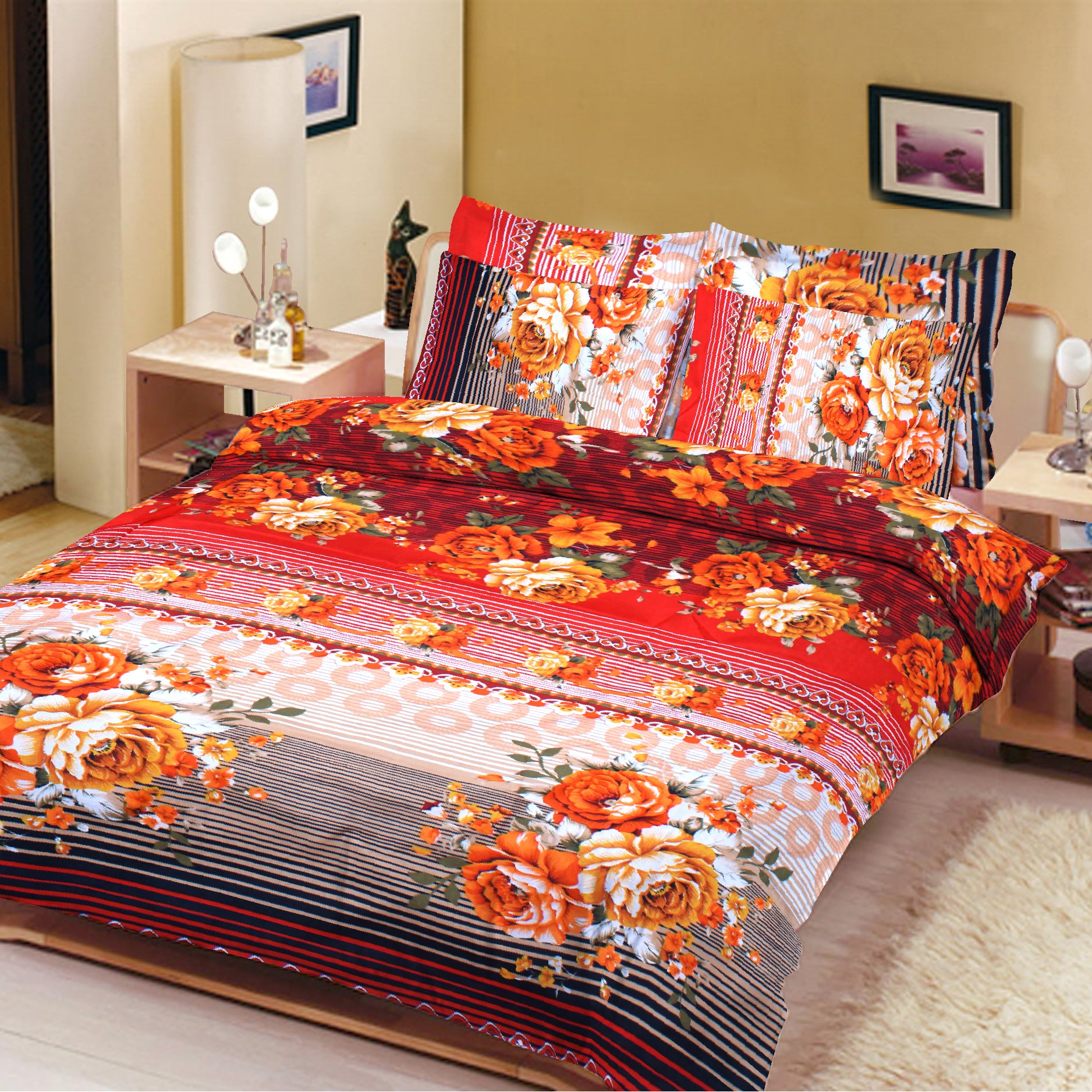 5D Oker's Island 100% Cotton Sutton Printed Double Bed Sheet & Pillow Set-NA6101