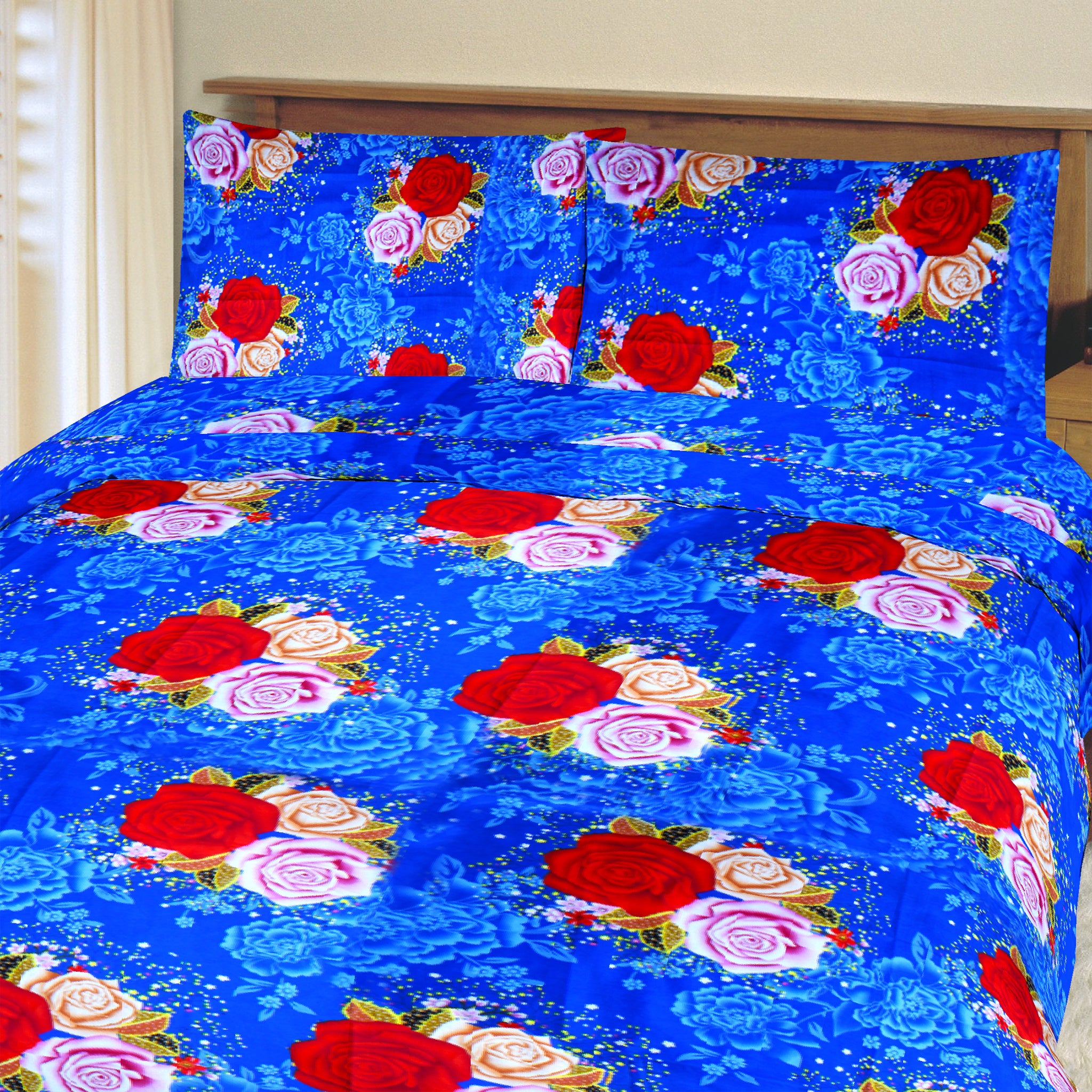 5D Oker's Island 100% Cotton Sutton Printed Double Bed Sheet & Pillow Set-NA6107