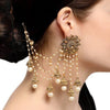 Bahubali Flower Designer Long Chain Jhumka Earrings-JW162