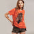 Halloween Single Jersey Crew Neck T Shirt For Women-Orange-BE4655