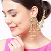 Stylish Bahubali Long Chain Jhumka Earrings-JW163