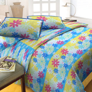 Oker's Island 100% Cotton Printed Double Bed Sheet & Pillow Set-BE5648