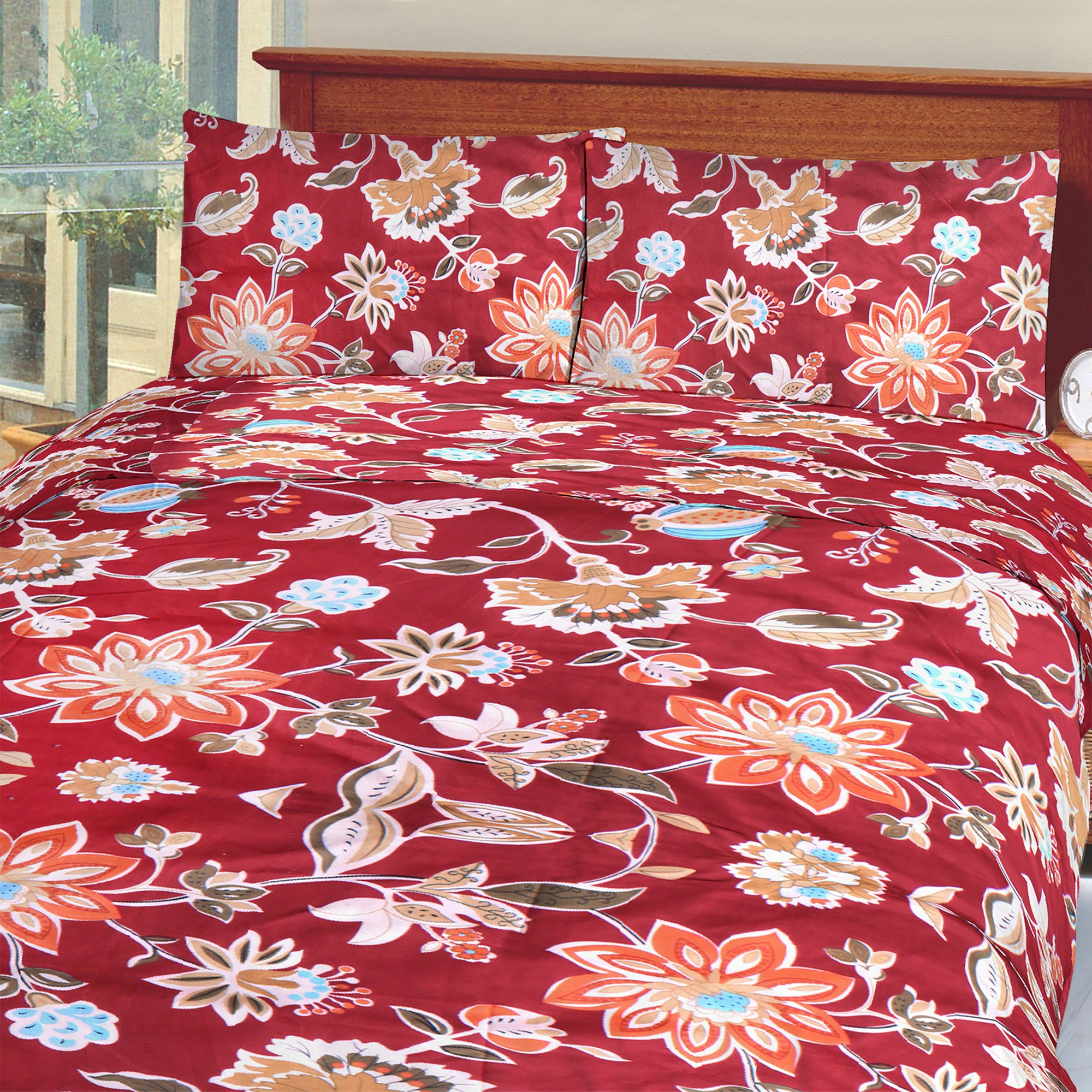 5D Okeru0027s Island 100% Cotton Sutton Printed Double Bed Sheet U0026 Pillow  Set BE5831