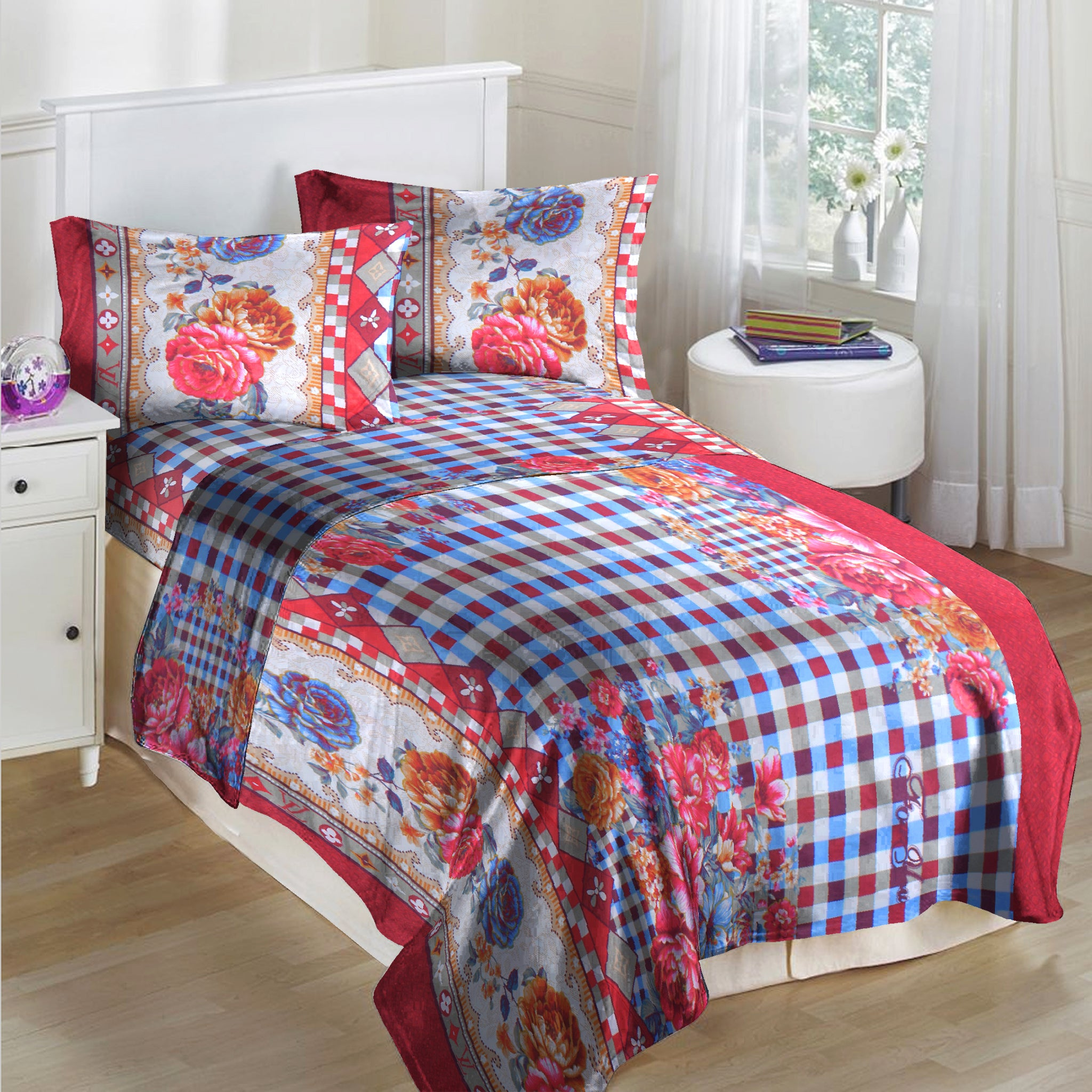 5D Oker's Island 100% Cotton Sutton Printed Single Bed Sheet & Pillow Set-BE5619