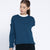 Next Terry Fleece Up & Down Coeeze Crop Sweatshirt For Women-Navy & White-SP1426