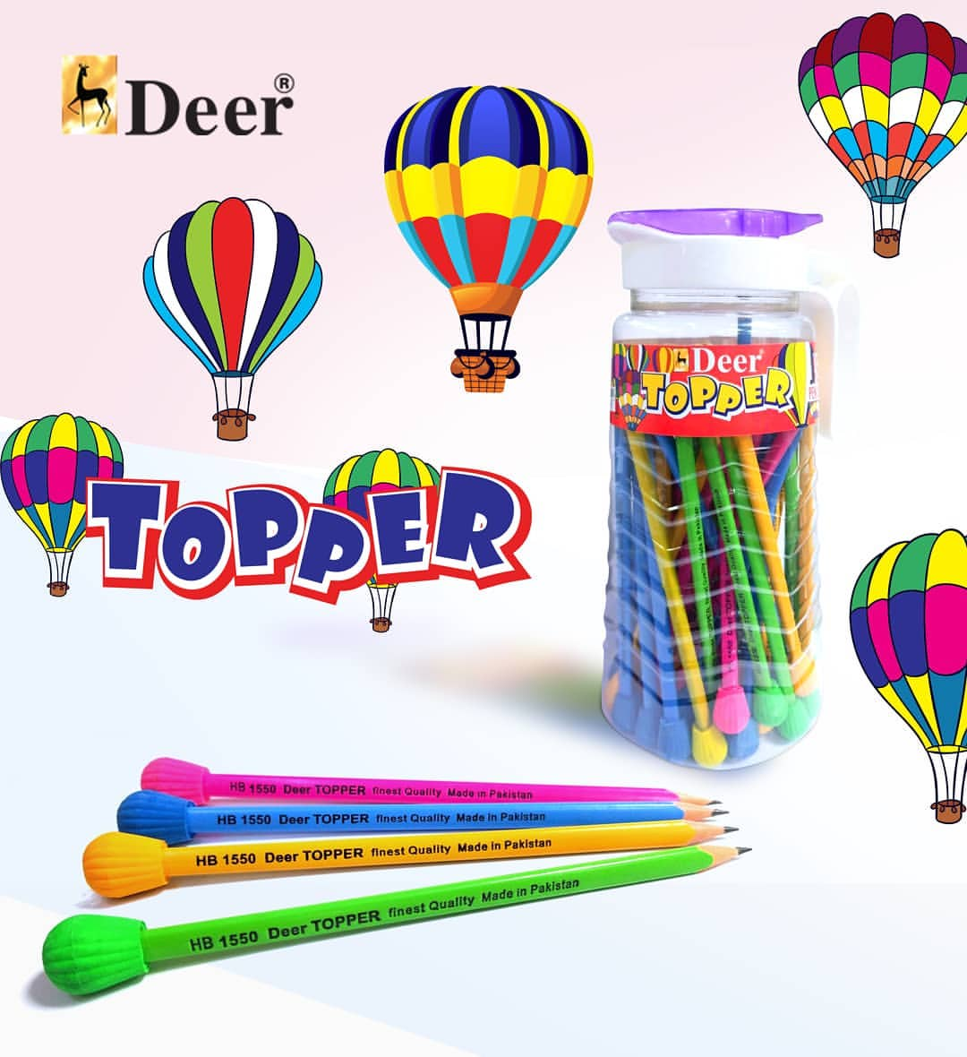 Deer Topper Pencil With Eraser For Kids-Assorted-SP1223