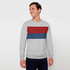 Next Fleece Crew Neck Sweatshirt For Men-Grey Melange with Multi Panel-SP1057