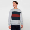 Next Fleece Crew Neck Sweatshirt For Men-Grey Melange with Panels-SP1576