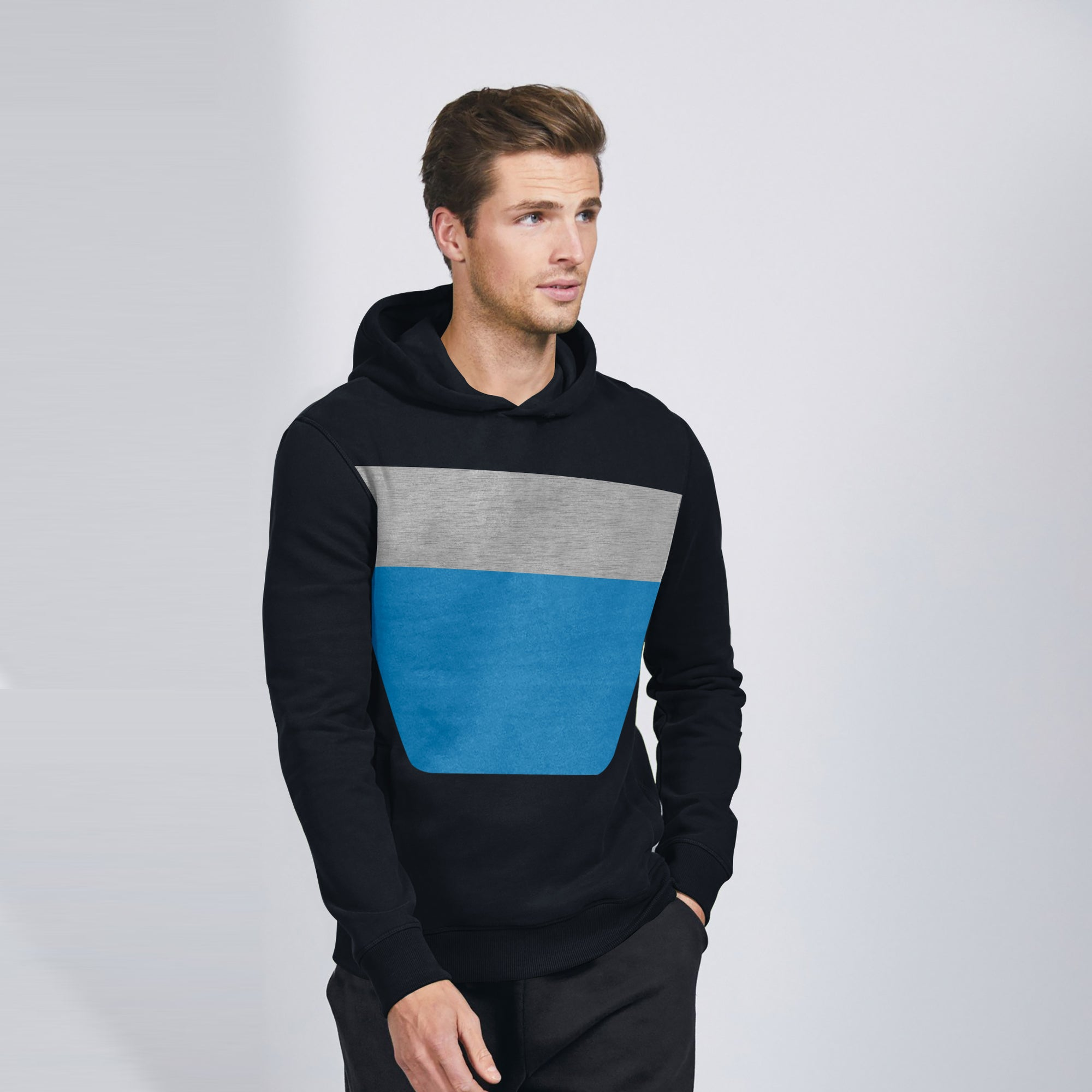 New Stylish Fleece Pullover Hoodie For Men-Dark Navy With Panels-SP1608