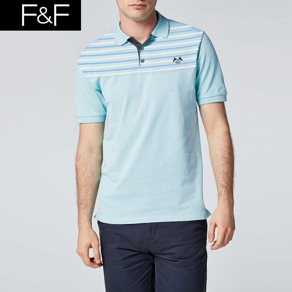 F&F Polo Shirt For Men Cut Label-Light Sea Green & Stripe-BE2467