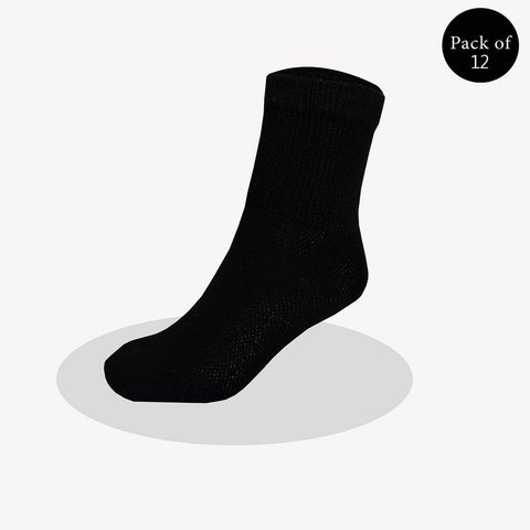 "Pack Of 12 Unisex ""Top Men"" Sock's-Black-So26"