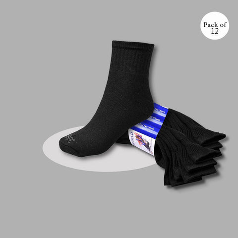 "Pack Of 12 Unisex ""Top Man"" Sock's-Black-So18"
