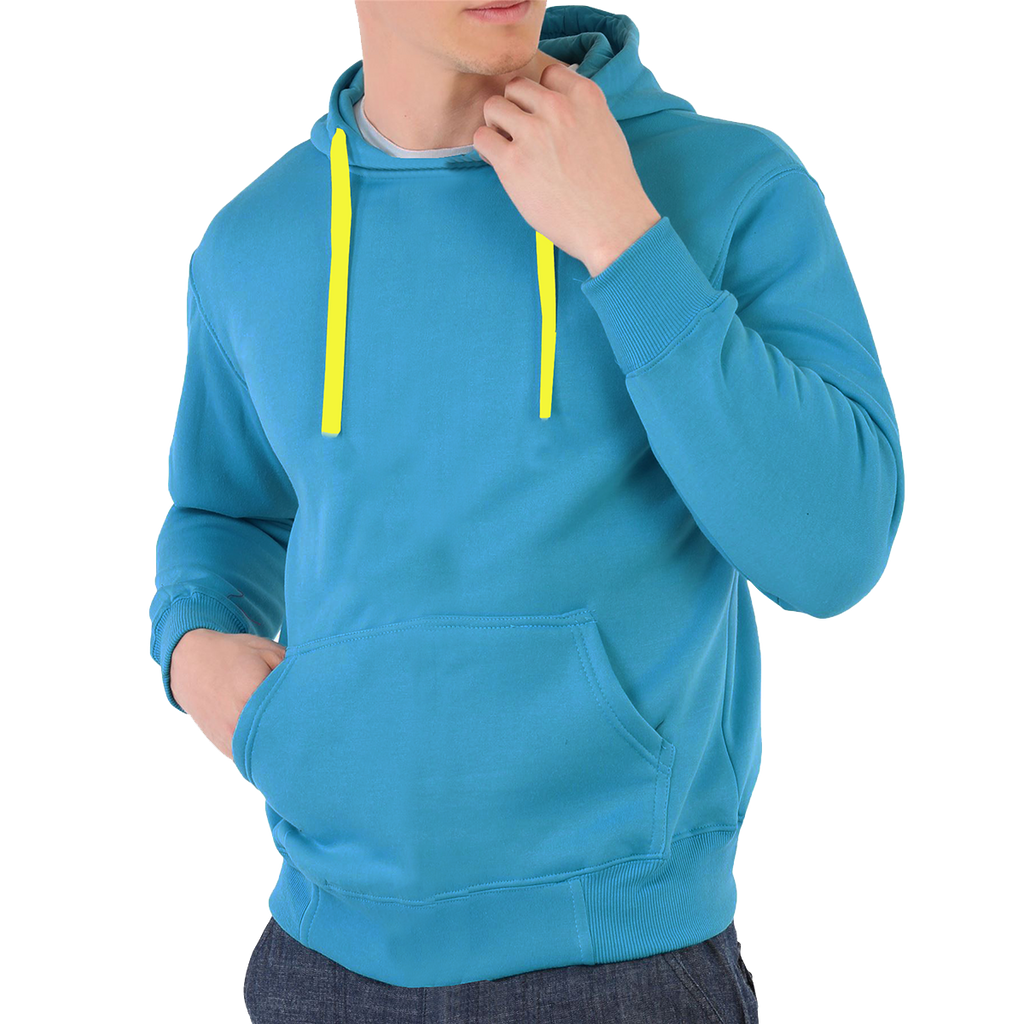 "Men's ""CR"" Pull Over Solid Fashion Hood-Turquiose"